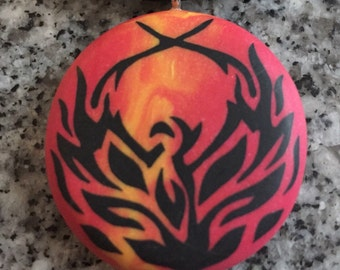 Phoenix Flames hand carved on a fiery blend background. Pendant comes with a FREE Leather Necklace