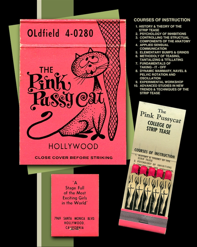 f6bf37eca8b Burlesque Poster Pink Pussycat Matchbook Hollywood Strip Tease