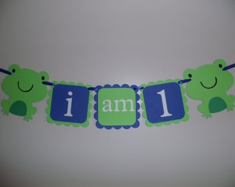 I am 1, Happy Birthday Banner, FROGS, First Birthday, 1st Birthday, personalized banner, custom birthday banner, boy birthday, girl birthday