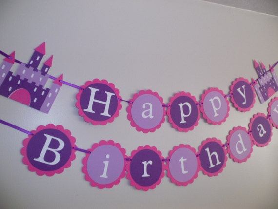castle happy birthday princess birthday banner purple banner etsy