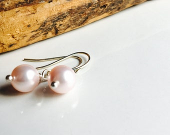 Swarovski Glass Pearl Earrings, Pink Pearl Earrings, Dangle Earrings, Simple Earrings, 10mm Glass Earrings, Silver Plated Earwires