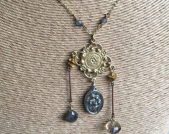 Beaded Statement Necklace, Victorian Style Necklace, Dangle Necklace, Smokey Quartz Beads, Labradorite, Catholic Medal, Citrine Bead,