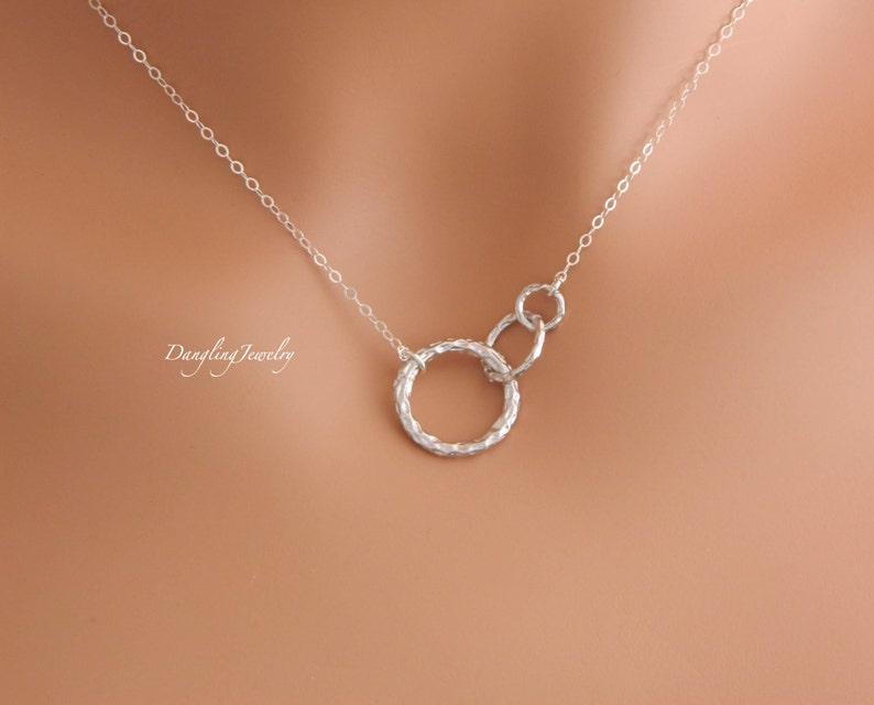 Matching Coeur Amour Tri-anneaux verrouillage pendentif Promesse Collier Hommes Femmes
