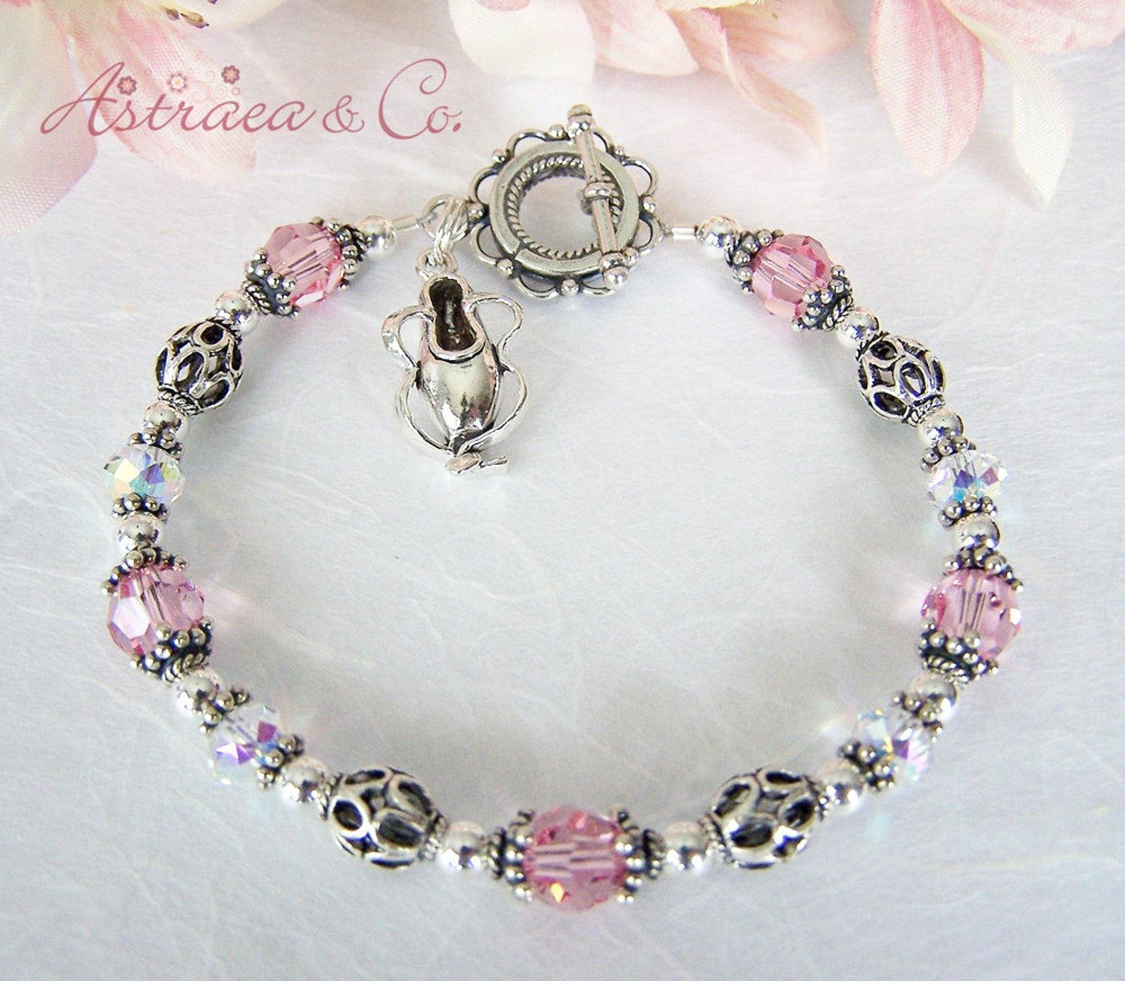 sterling ballerina bracelet, pink ballet bracelet, ballet slipper charm bracelet, ballerina jewelry, ballet teacher gift by astr