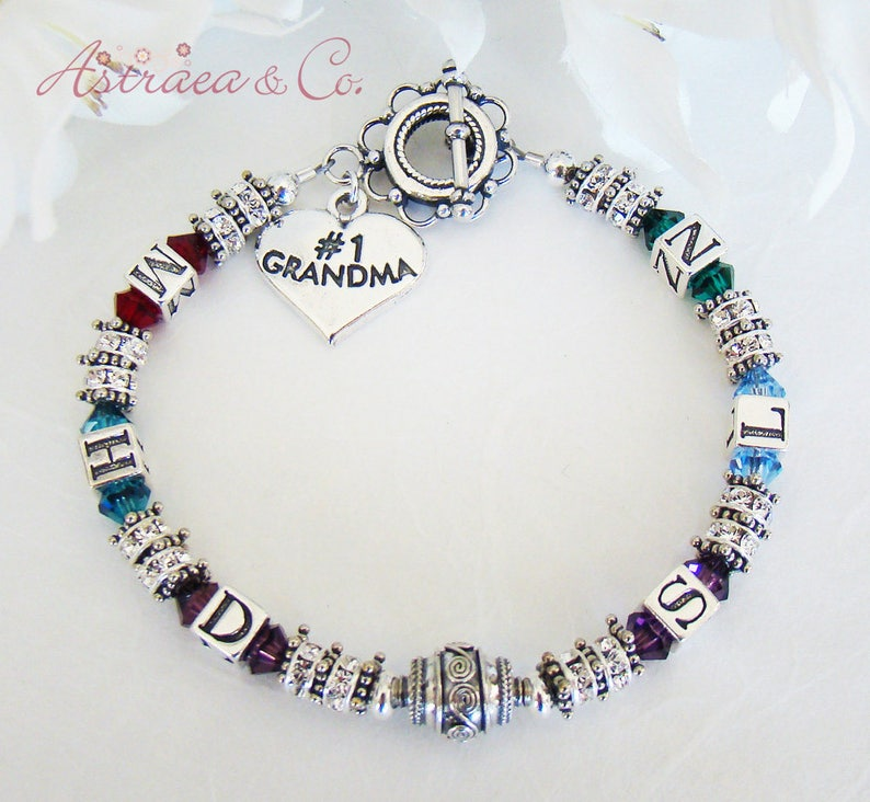 Sterling Family Initials Bracelet personalized Initial Bracelet with up to 6 Grandchildren/'s Initials and Birthstones Grandma Jewelry