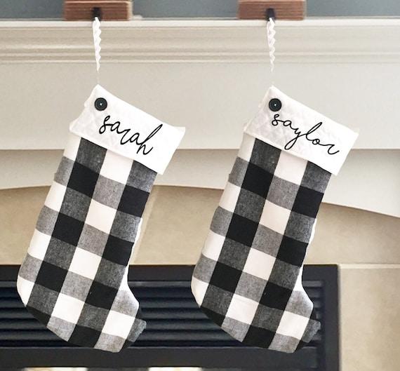 Black And White Christmas Stockings.Buffalo Plaid Stocking Black And White Christmas Stocking Personalized Family Stocking Lined Plaid Stocking Custom Stocking Flannel