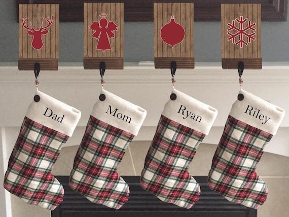 Family Christmas Stockings.Personalized Christmas Stocking Monogrammed Christmas Stockings Pet Christmas Stocking Family Christmas Stocking Plaid Farmhouse Decor