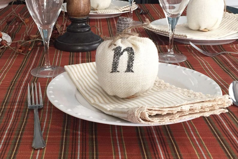 fall wedding table settings wedding place cards fall mantle decor Monogrammed pumpkin thanksgiving table settings hostess gift