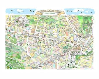 Items similar to Glell Park CA Map Print Hand-Drawn L.A. ... on bonita park la habra ca, shooting in la habra ca, food la palma ca, map of la costa ca, 3460 la palma anaheim ca, street map of south la,