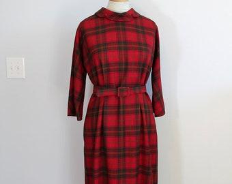 1960s Red Plaid Dress // Aljean Wool Dress // Medium