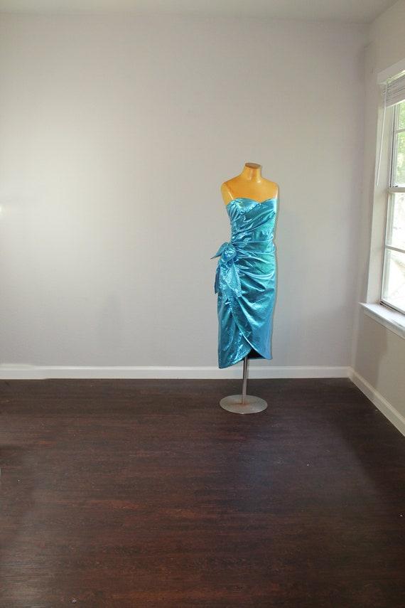 1980s Metallic Blue Lame Prom Dress // Small