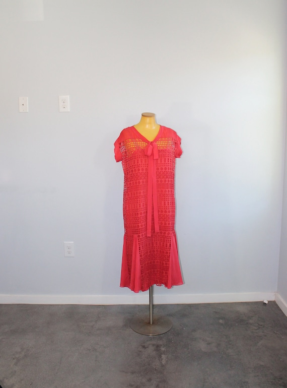 1920s Red Eyelet Cotton Day Dress & Slip // Medium