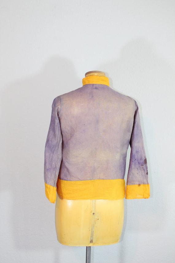 1930s Cotton Gauze Purple and Yellow Beach Pajama… - image 7