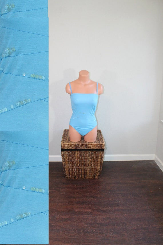 1990s Blue Sequin Free by Gottex Swimsuit // Small