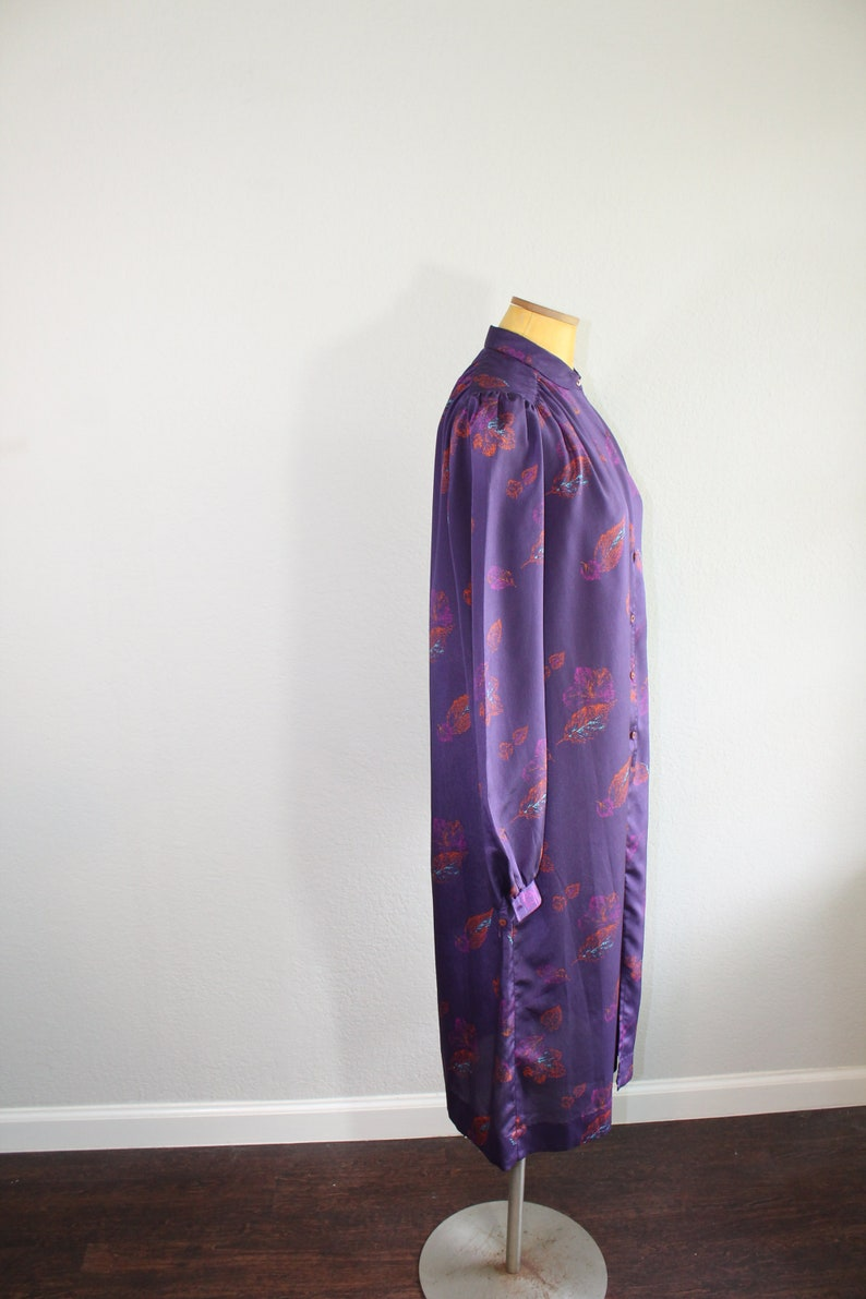 1960s I Magnin Silky Shirt Dress with Leaves  Long Sleeves  Medium or Large