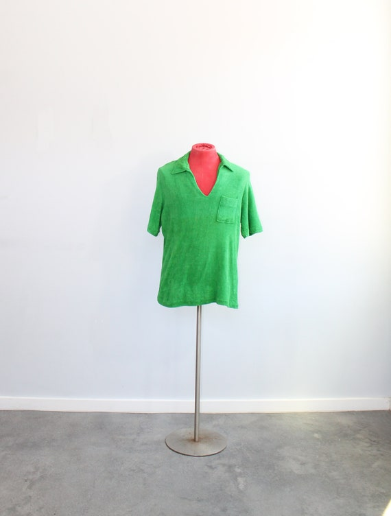 1970s Men's Green Terry Cloth Polo Shirt // Large