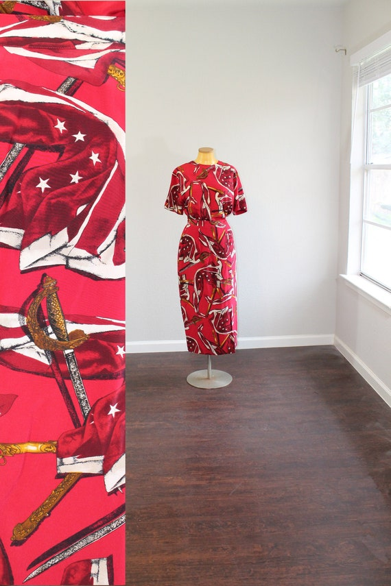1980s Red Silk Sword Blouse and Skirt Matching Set