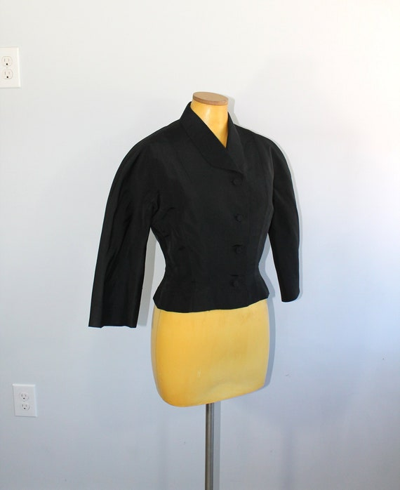 1950s Traina Norell Black Suit Jacket // Small