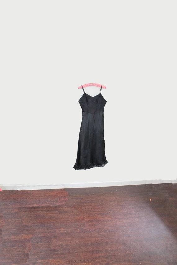 1940s Shirley Ray Black Satin Full Dress Slip // M