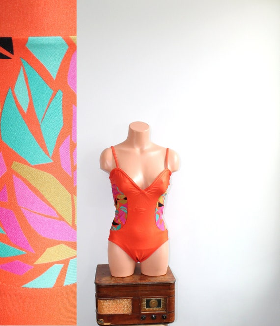 1980s Gideon Oberson Orange Swimsuit // Small