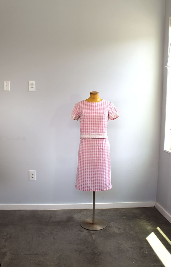 1960s Pink Gingham Suit // Matching Set // Small C