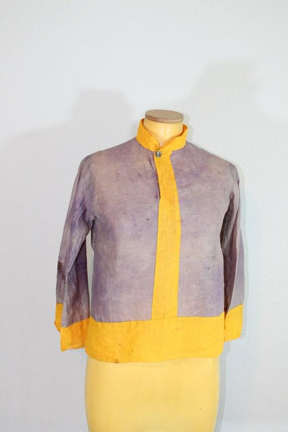 1930s Cotton Gauze Purple and Yellow Beach Pajama… - image 4