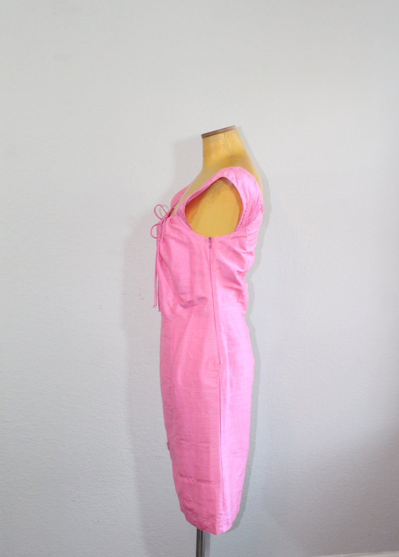1990s Pink Raw Silk Floral Embroidery ABS Dress  Small