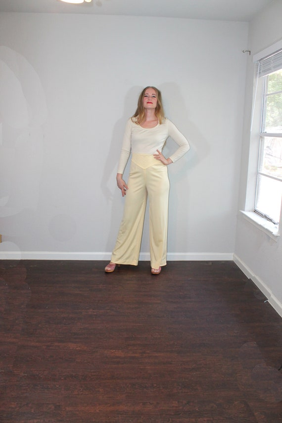 1970s Beige and Yellow Disco Wide Leg Jumpsuit //