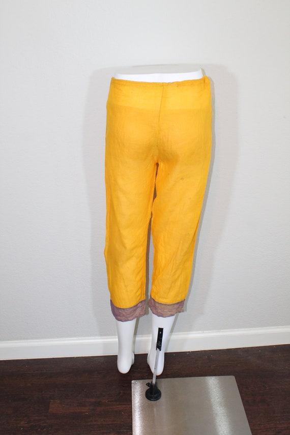 1930s Cotton Gauze Purple and Yellow Beach Pajama… - image 3