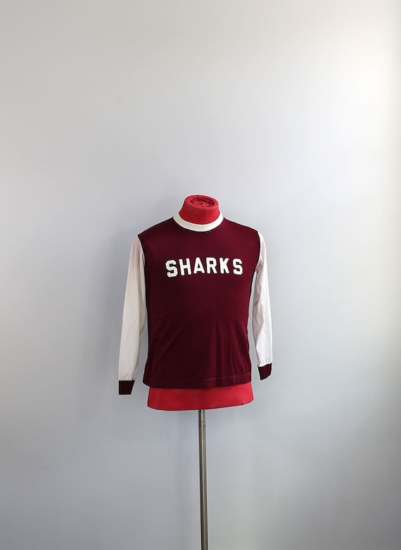 1980s Sharks Sports Jersey // Small