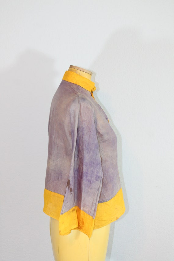 1930s Cotton Gauze Purple and Yellow Beach Pajama… - image 6