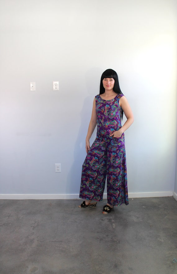 1960s Paisley Purple Jumpsuit // Medium