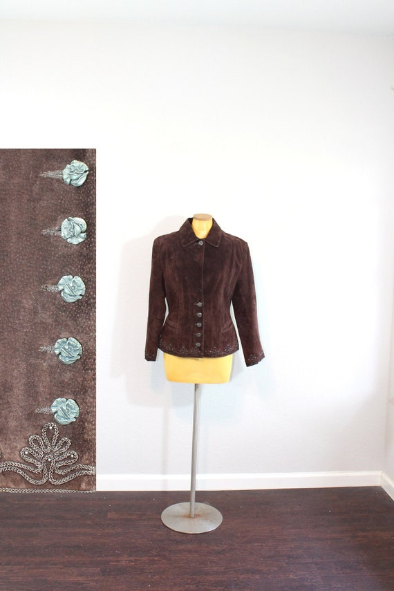 1980s Scully Brown Suede Embroidered Jacket // Med