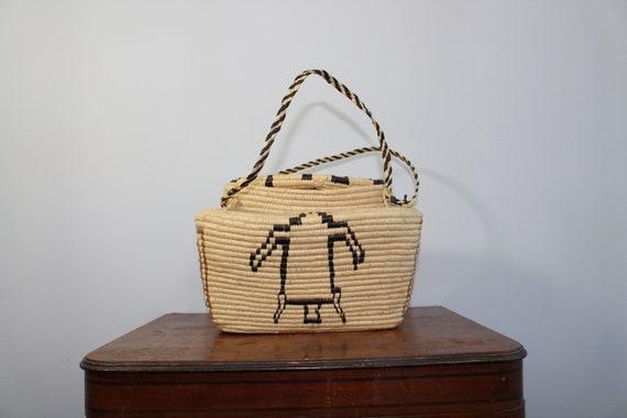 1950s Hopi Turtle Basket Purse // Native American