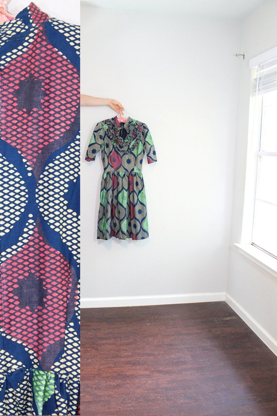 Handmade African Wax Block Print Dress // Small