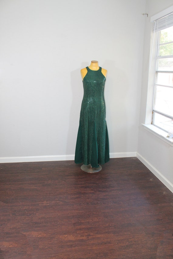 1990s All That Jazz Green Sequin Mermaid Dress //