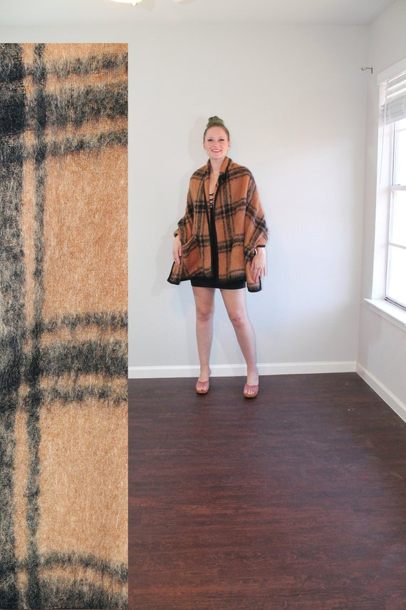 1960s Bonwit Teller Tan Plaid Wool Cape