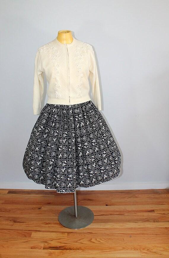 1950s Novelty Deer Print Skirt // Size XS // Folk… - image 3