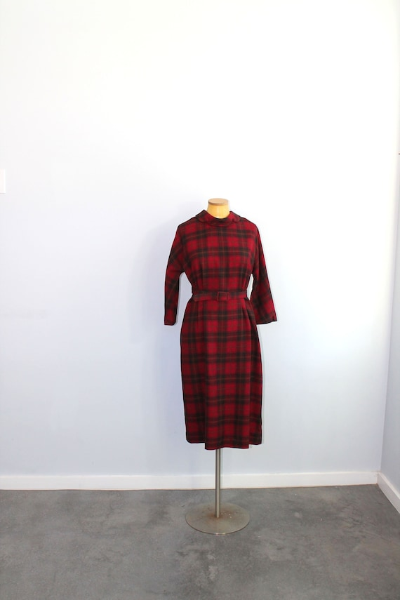 1960s Red Plaid Dress // Aljean Wool Dress // Medi