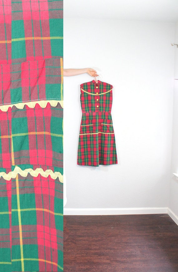 1930s Plaid Day Dress // Extra Small or Small