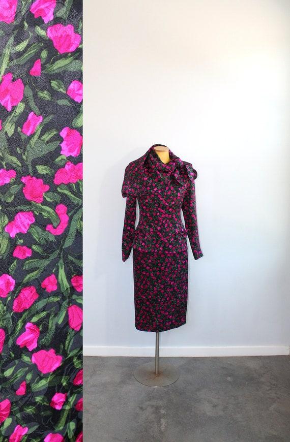 1980s Silk Rose Print Custom Skirt Suit Set with S