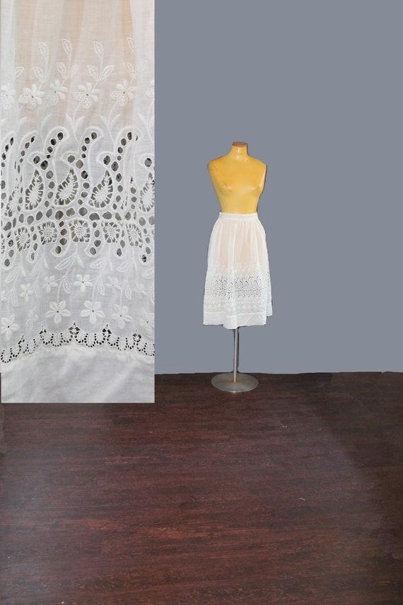 Antique Edwardian White Floral Embroidered Slip Sk