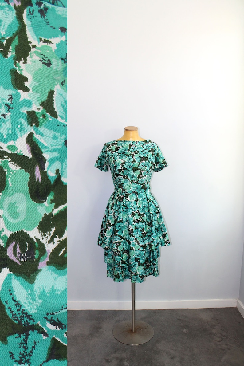 e10532f7bd3 1950s Suzy Perette Teal Floral Party Dress    Extra Small