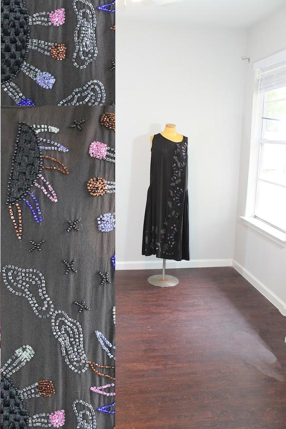 1920s Black Beaded Sky Rayon Dress // Large