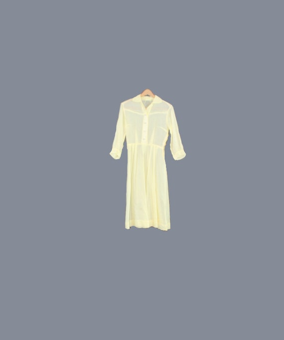 1950s Sheer Cotton Lawn Pastel Yellow Shirtdress /