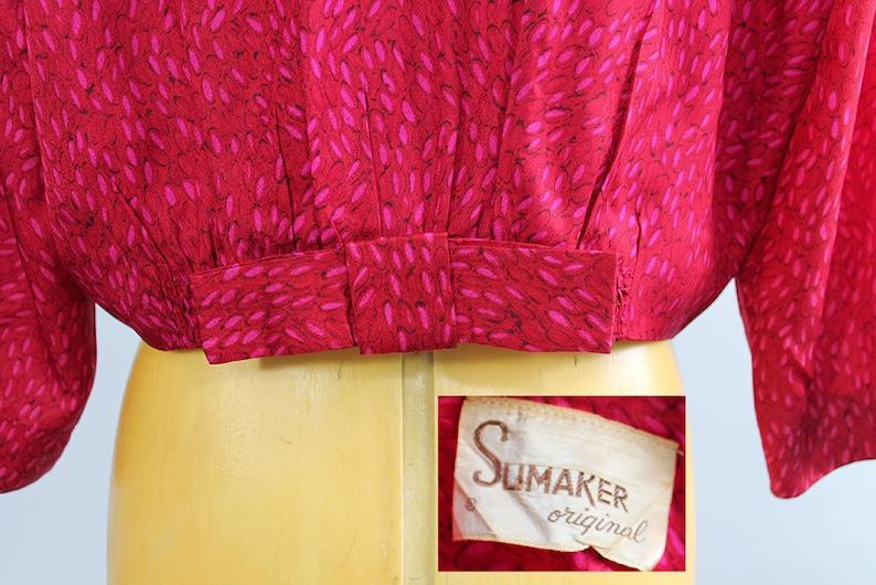 1940s Slimaker Magenta Pink Silk Dress Suit  Large or Extra Large