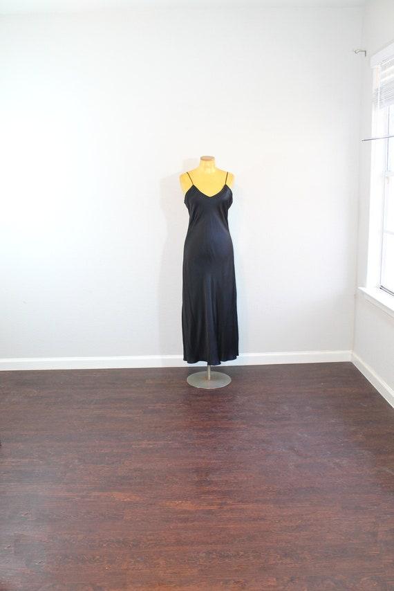 1990s Black Nordstrom Silk Long Slip or Night Gown