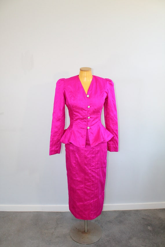 1980s Hot Pink Barbie Bitch Power Suit // Small