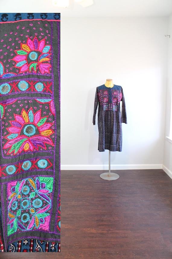 1970s Anokhi indian Cotton Block Print Tunic Dress