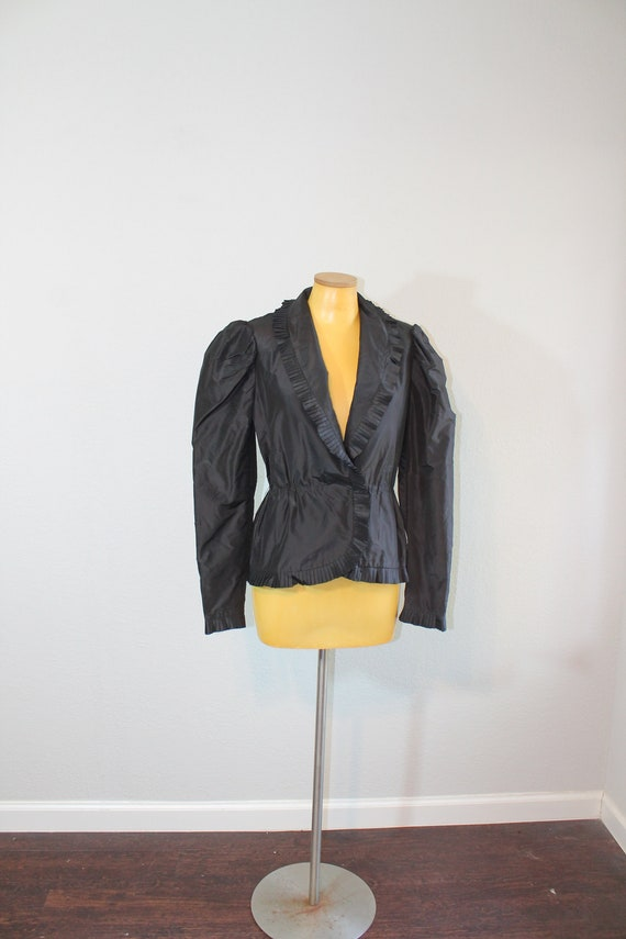 1980s Does Victorian Taffeta Structured Black Wrap